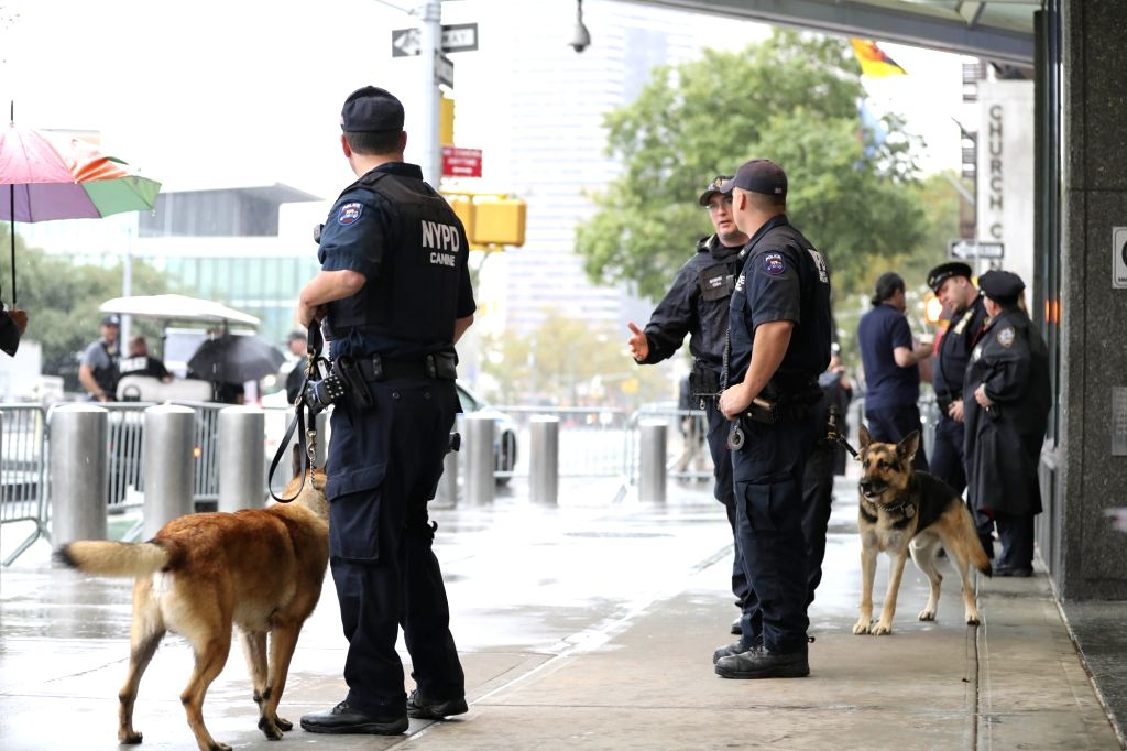 NEW YORK, Sept. 19, 2016 - Police stand guard at a street near the United Nations headquarters in New York, the United States on Sept. 19, 2016. Security has been enforced in New York as a series of ...