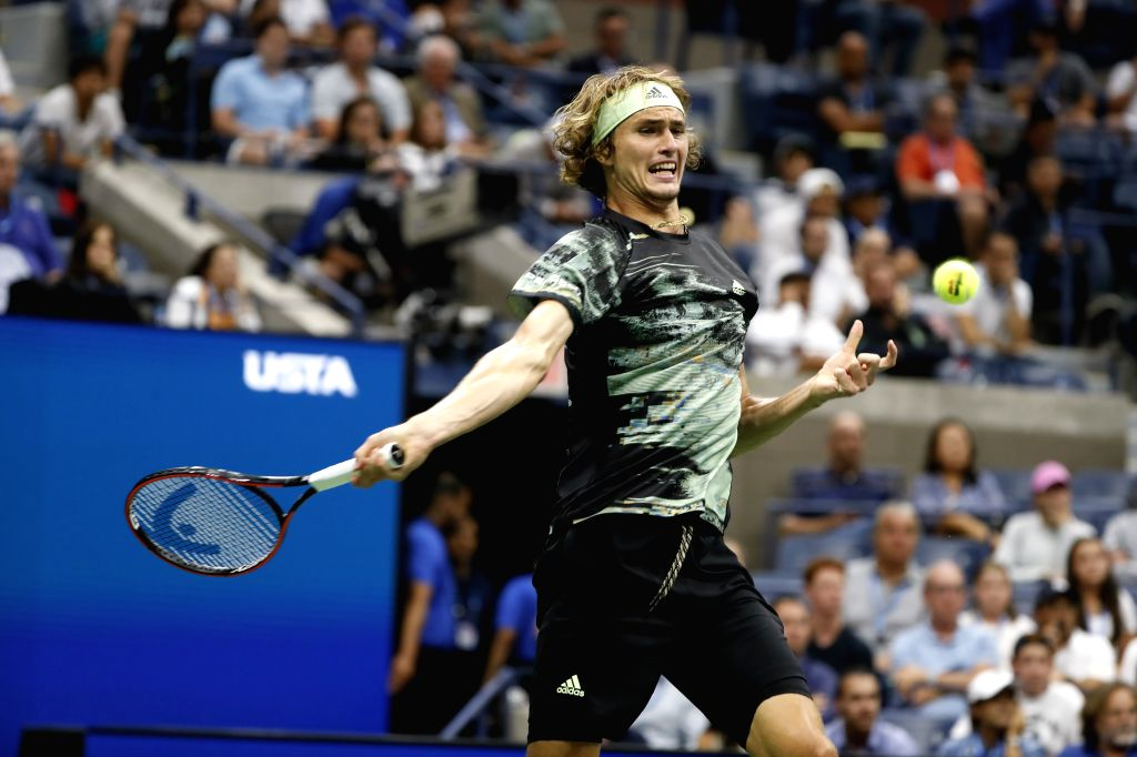 NEW YORK, Sept. 3, 2019 - Alexander Zverev of Germany hits a return during the men's singles fourth round match between Alexander Zverev of Germany and Diego Schwartzman of Argentina at the 2019 US ...