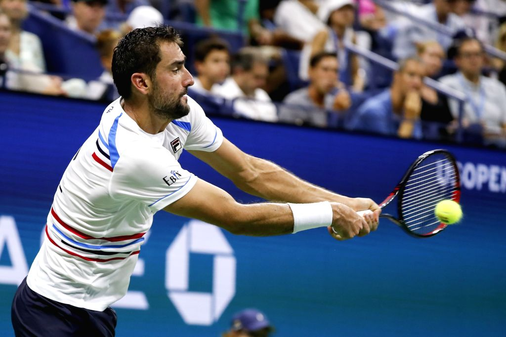 NEW YORK, Sept. 3, 2019 - Marin Cilic of Croatia hits a return during the men's singles fourth round match between Rafael Nadal of Spain and Marin Cilic of Croatia at the 2019 US Open in New York, ...