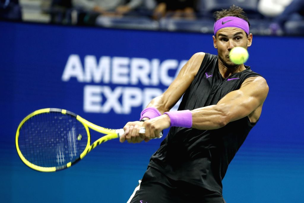 NEW YORK, Sept. 3, 2019 - Rafael Nadal of Spain hits a return during the men's singles fourth round match between Rafael Nadal of Spain and Marin Cilic of Croatia at the 2019 US Open in New York, the ...