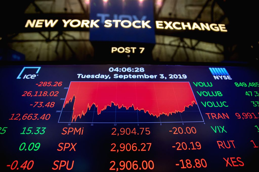 NEW YORK, Sept. 3, 2019 (Xinhua) -- An electronic screen shows the trading data at the New York Stock Exchange in New York, the United States, on Sept. 3, 2019. U.S. stocks closed lower on Tuesday. The Dow Jones Industrial Average fell 285.26 points,