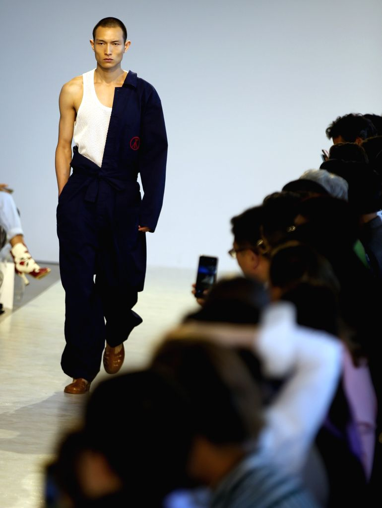 NEW YORK, Sept. 4, 2019 - A model presents a creation from the Threegun Spring/Summer 2020 collection during the New York Fashion Week in New York, the United States, on Sept. 4, 2019. Chinese brand ...