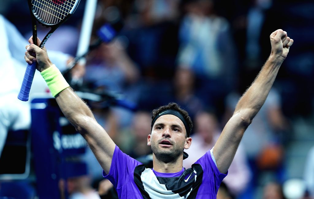 NEW YORK, Sept. 4, 2019 - Grigor Dimitrov celebrates after the men's singles quarter final match between Roger Federer of Switzerland and Grigor Dimitrov of Bulgaria at the 2019 US Open in New York, ...