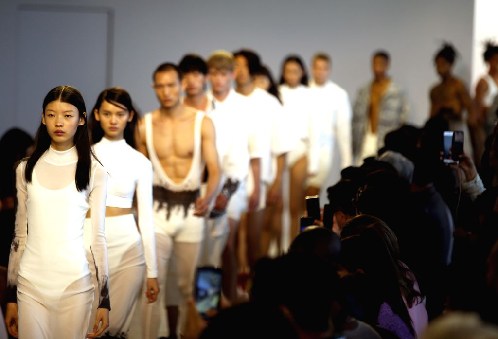 NEW YORK, Sept. 4, 2019 - Models present creations from the Threegun Spring/Summer 2020 collection during the New York Fashion Week in New York, the United States, on Sept. 4, 2019. Chinese brand ...