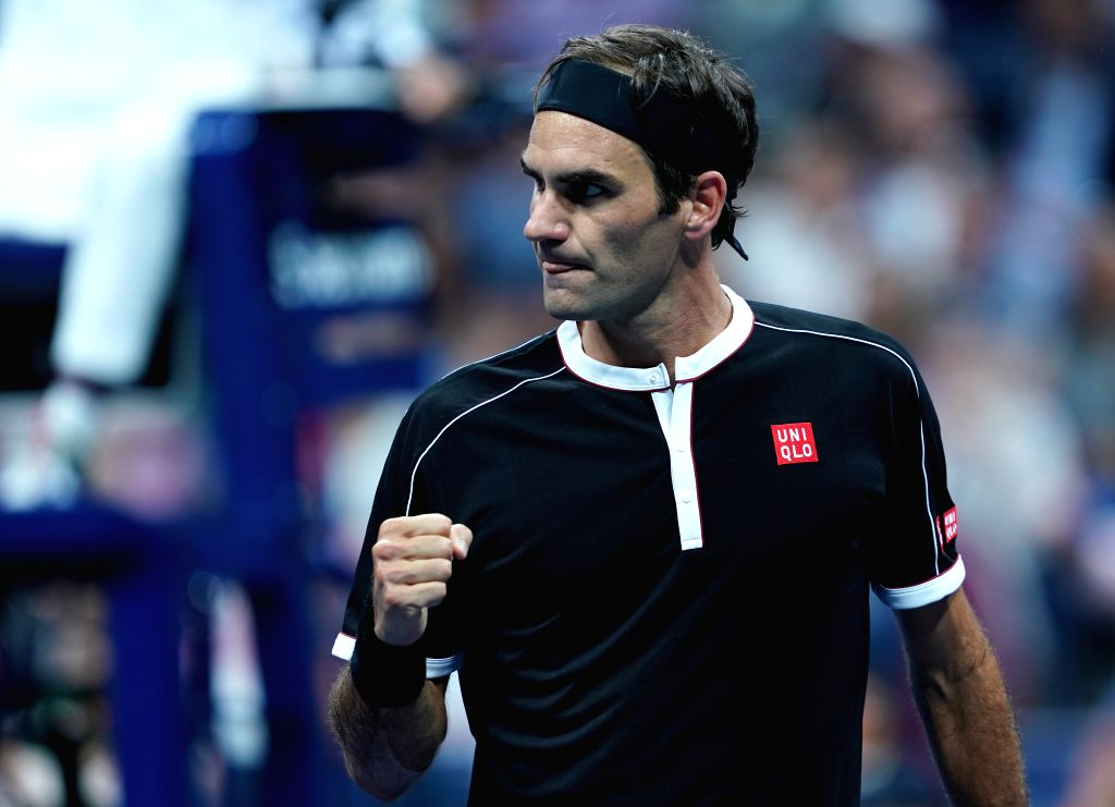 NEW YORK, Sept. 4, 2019 - Roger Federer reacts during the men's singles quarter final match between Roger Federer of Switzerland and Grigor Dimitrov of Bulgaria at the 2019 US Open in New York, the ...