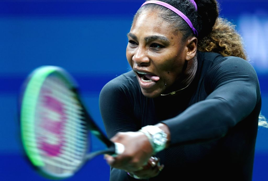 NEW YORK, Sept. 4, 2019 - Serena Williams hits a return during the women's singles quarterfinal match between Wang Qiang of China and Serena Williams of  the United States at the 2019 US Open in New ...