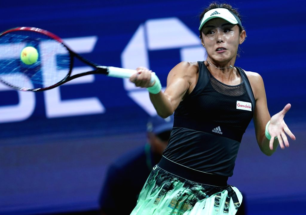 NEW YORK, Sept. 4, 2019 - Wang Qiang hits a return during the women's singles quarterfinal match between Wang Qiang of China and Serena Williams of  the United States at the 2019 US Open in New York, ...