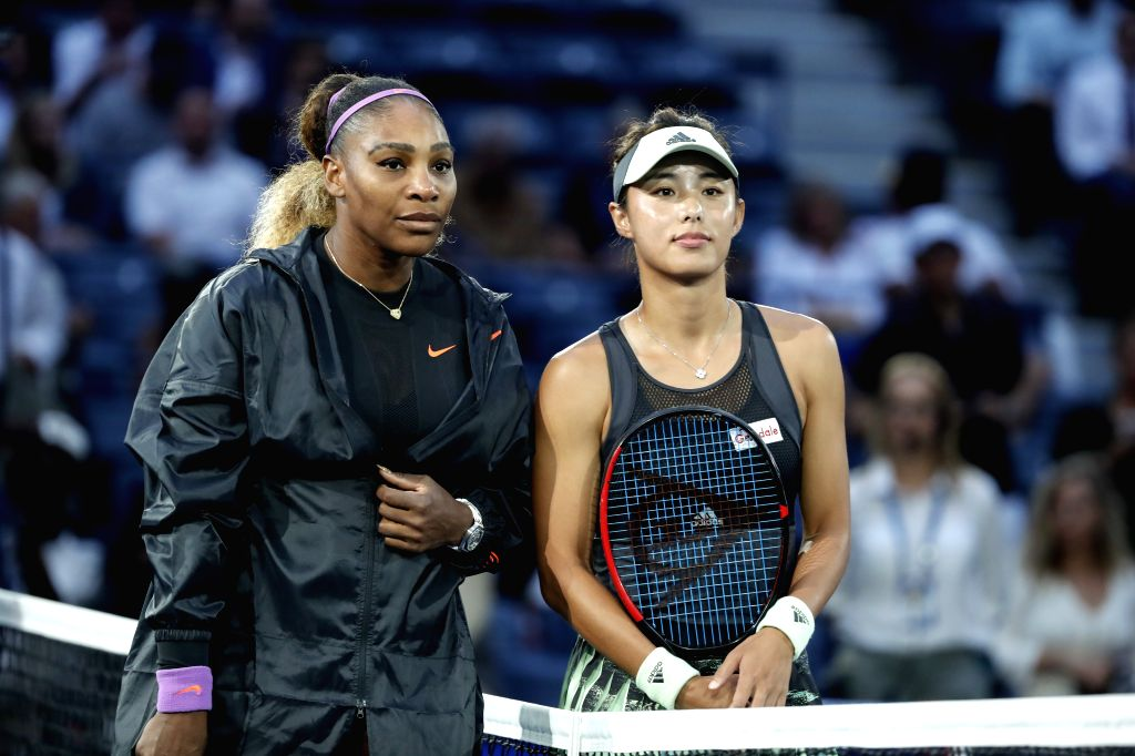 NEW YORK, Sept. 4, 2019 - Wang Qiang (R) poses for a photo with Serena Williams before women's singles quarterfinal match between Wang Qiang of China and Serena Williams of  the United States at the ...