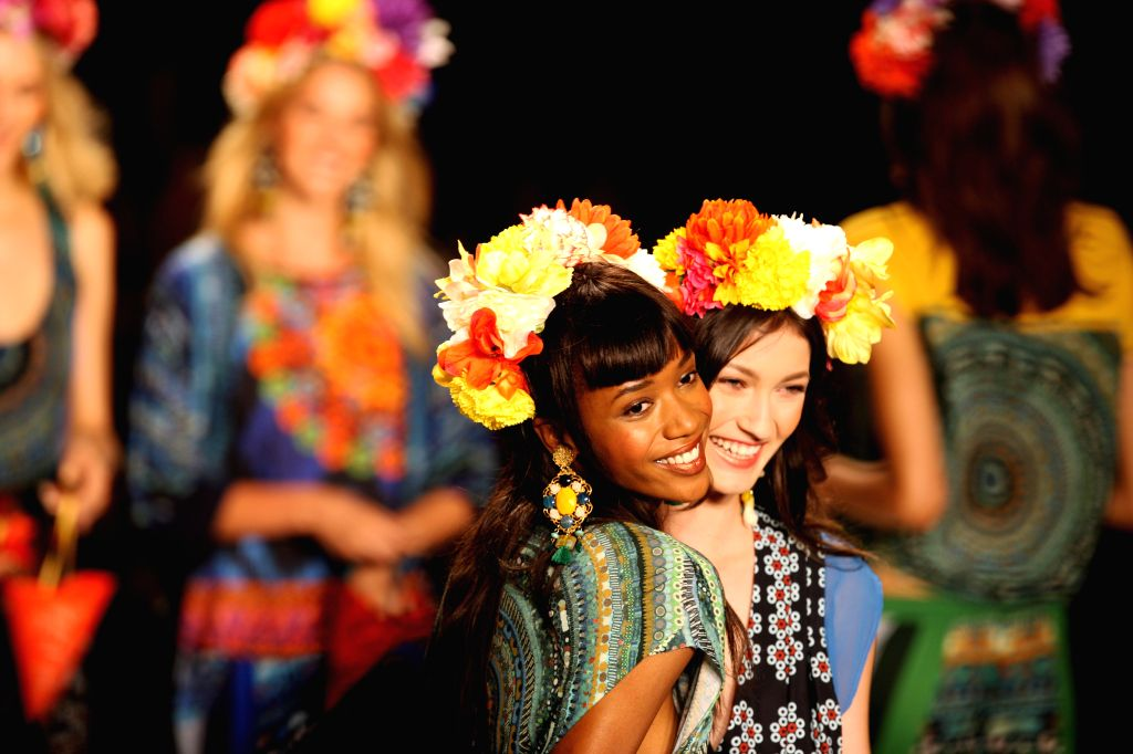 Models present creations from the Spring/Summer 2015 Desigual collection during the New York Fashion Week in New York, the United States, Sept. 4, 2014. (Xinhua/Wu