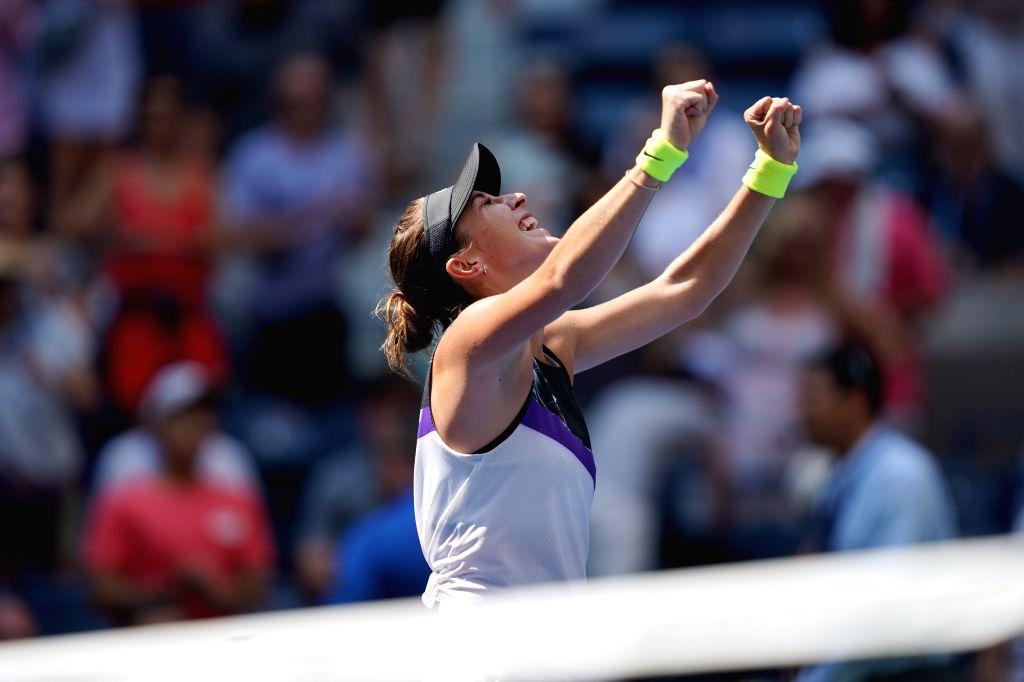 NEW YORK, Sept. 5, 2019 - Belinda Bencic celebrates after the women's singles quarterfinal match between Belinda Bencic of Switzerland and Donna Vekic of Croatia at the 2019 US Open in New York, the ...