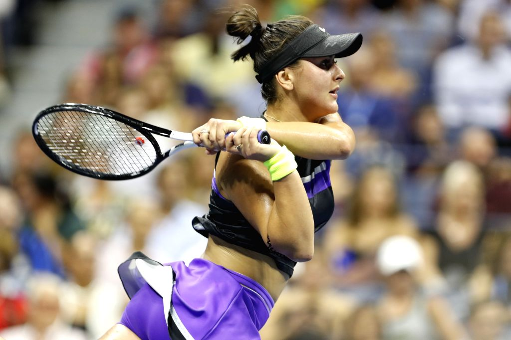 NEW YORK, Sept. 5, 2019 - Bianca Andreescu hits a return during the women's singles quarterfinal match between Bianca Andreescu of Canada and Elise Mertens of Belgium at the 2019 US Open in New York, ...