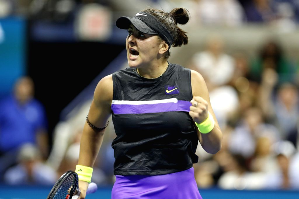 NEW YORK, Sept. 5, 2019 - Bianca Andreescu reacts during the women's singles quarterfinal match between Bianca Andreescu of Canada and Elise Mertens of Belgium at the 2019 US Open in New York, the ...