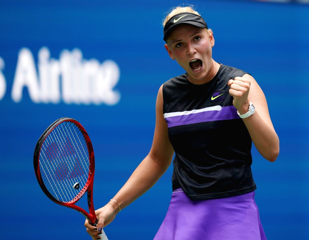 NEW YORK, Sept. 5, 2019 - Donna Vekic reacts during the women's singles quarterfinal match between Belinda Bencic of Switzerland and Donna Vekic of Croatia at the 2019 US Open in New York, the United ...