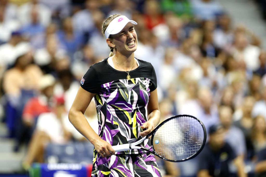 NEW YORK, Sept. 5, 2019 - Elise Mertens reacts during the women's singles quarterfinal match between Bianca Andreescu of Canada and Elise Mertens of Belgium at the 2019 US Open in New York, the ...