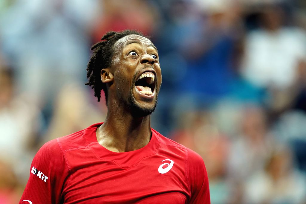 NEW YORK, Sept. 5, 2019 - Gael Monfils of France celebrates during the men's singles quarterfinal match between Matteo Berrettini of Italy and Gael Monfils of France at the 2019 US Open in New York, ...