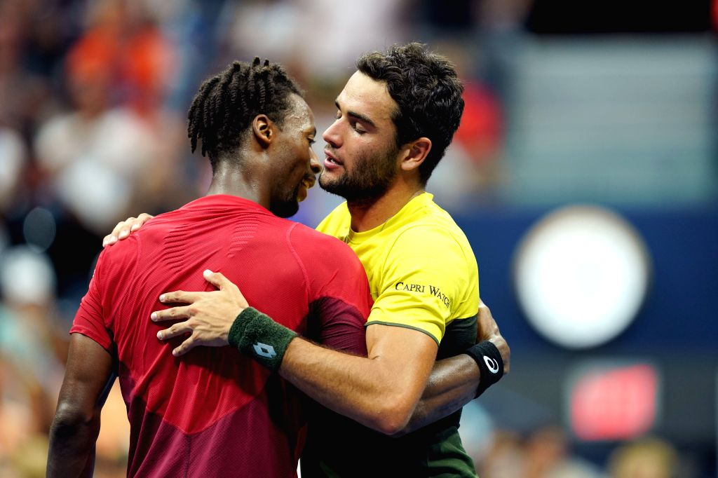 NEW YORK, Sept. 5, 2019 - Matteo Berrettini (R) of Italy hugs Gael Monfils of France after the men's singles quarterfinal match between Matteo Berrettini of Italy and Gael Monfils of France at the ...