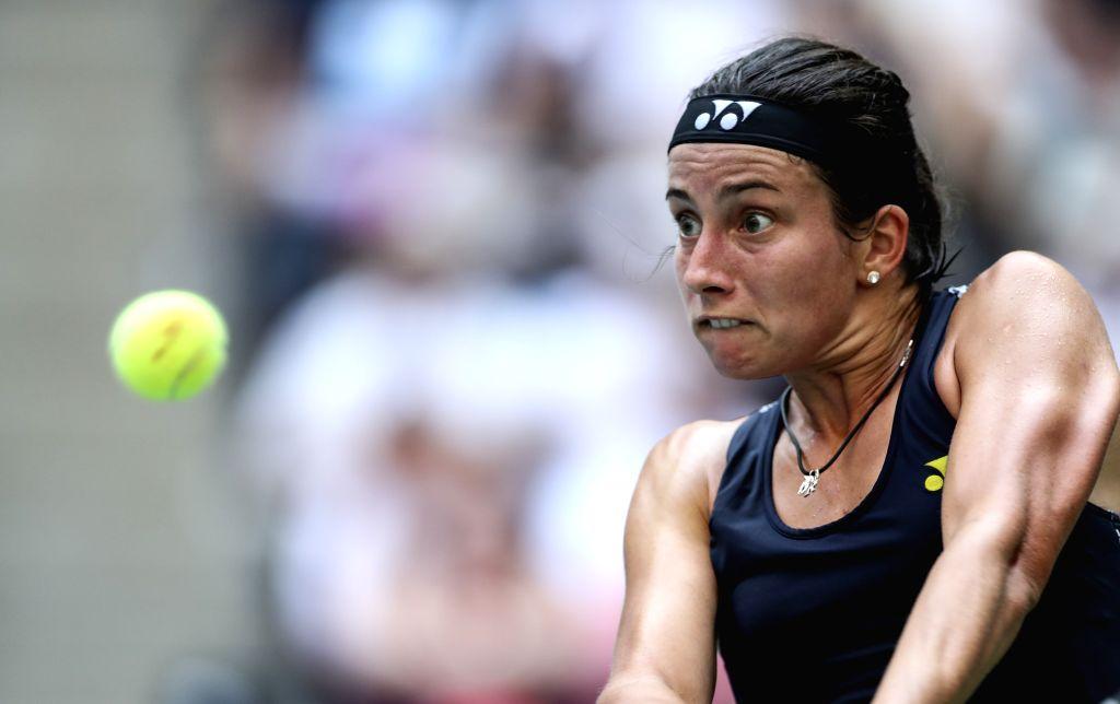 NEW YORK, Sept. 6, 2017 - Anastasija Sevastova of Latvia hits a return during the Women's Singles quarter final match against Sloane Stephens of the United States at the 2017 U.S. Open in New York, ...