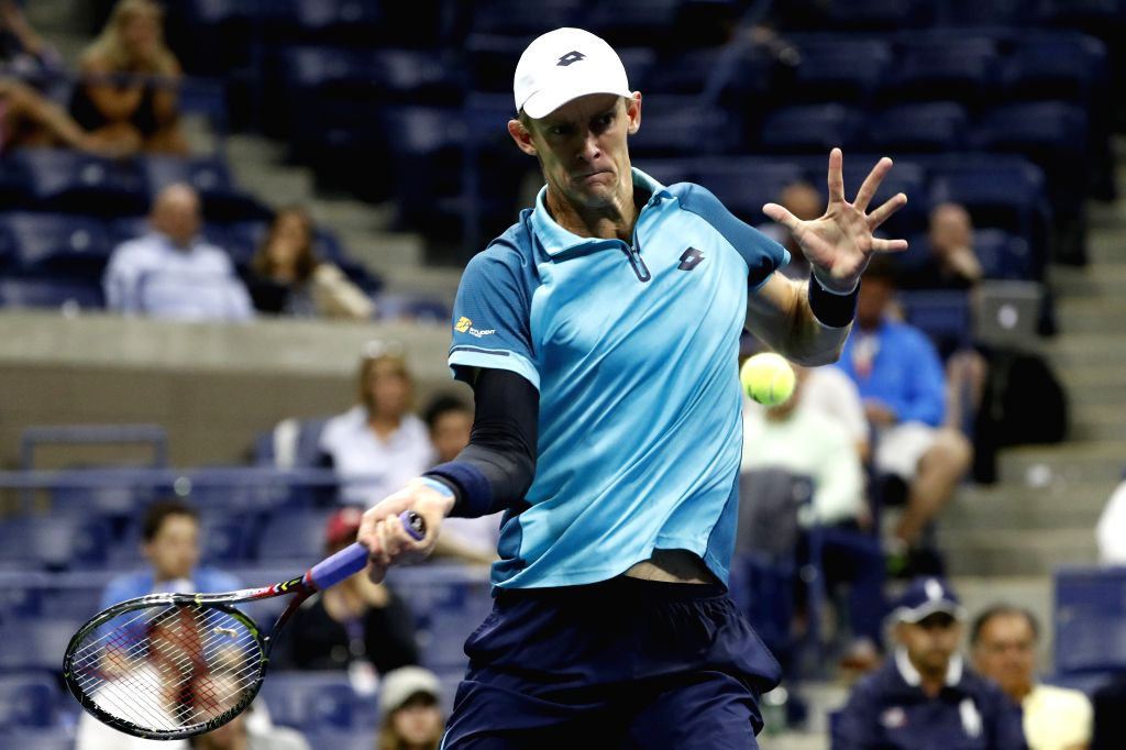 NEW YORK, Sept. 6, 2017 - Kevin Anderson of South Africa hits a return during the Men's Singles quarterfinal match against Sam Querrey of the United States at the 2017 U.S. Open in New York, the ...