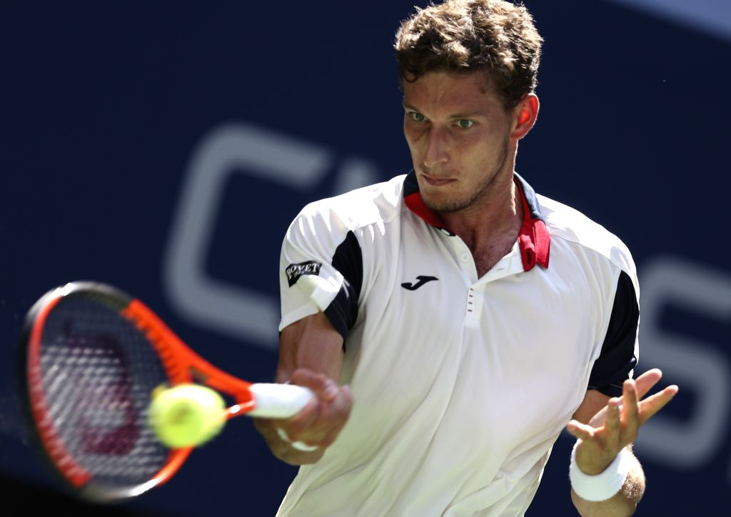 NEW YORK, Sept. 6, 2017 - Pablo Carreno Busta of Spain hits a return during the Men's Singles quarter final match against Diego Schwartzman of Argentina at the 2017 U.S. Open in New York, the United ...