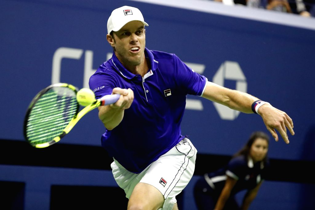 NEW YORK, Sept. 6, 2017 - Sam Querrey of the United States hits a return during the Men's Singles quarterfinal match against Kevin Anderson of South Africa at the 2017 U.S. Open in New York, the ...