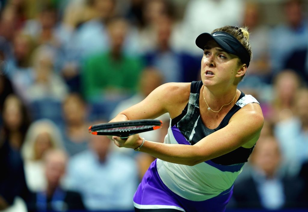 NEW YORK, Sept. 6, 2019 - Elina Svitolina hits a return during the women's singles semifinal match between Serena Williams of  the United States and Elina Svitolina of Ukraine at the 2019 US Open in ...