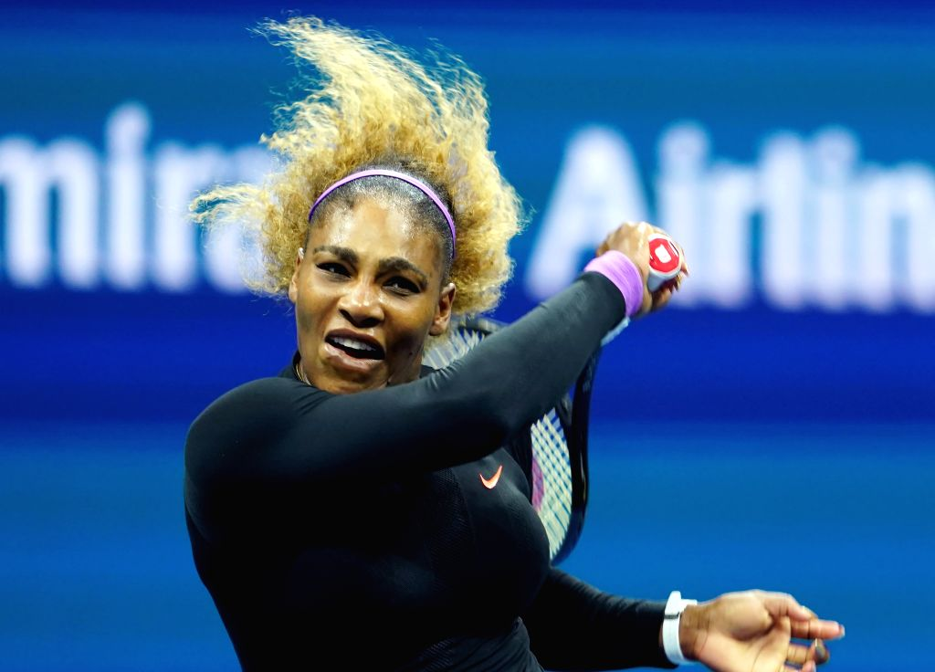 NEW YORK, Sept. 6, 2019 - Serena Williams hits a return during the women's singles semifinal match between Serena Williams of  the United States and Elina Svitolina of Ukraine at the 2019 US Open in ...