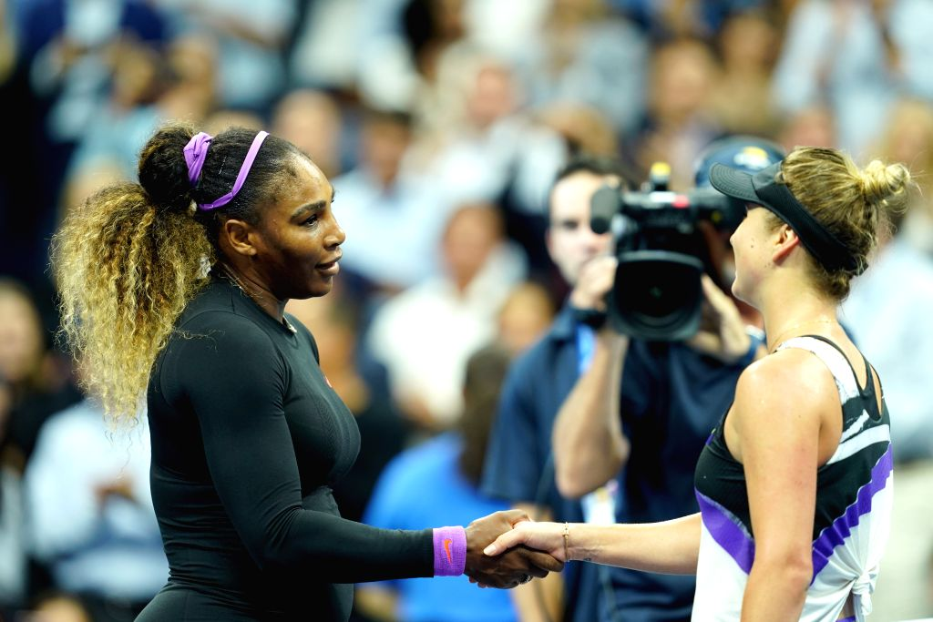 NEW YORK, Sept. 6, 2019 - Serena Williams(L) shakes hands with Elina Svitolina after the women's singles semifinal match between Serena Williams of  the United States and Elina Svitolina of Ukraine ...
