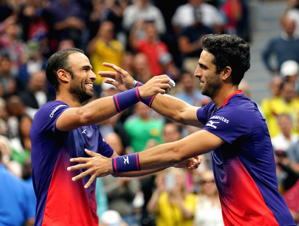 NEW YORK, Sept. 7, 2019 - Juan Sebastian Cabal (L)/Robert Farah of Colombia celebrate after the men's doubles final match between Juan Sebastian Cabal/Robert Farah of Colombia and Marcel Granollers ...