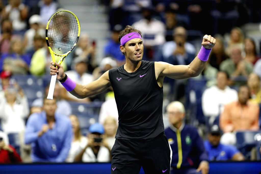 NEW YORK, Sept. 7, 2019 - Rafael Nadal of Spain celebrates after the men's singles semifinal between Rafael Nadal of Spain and Matteo Berrettini at the 2019 US Open in New York, the United States, ...