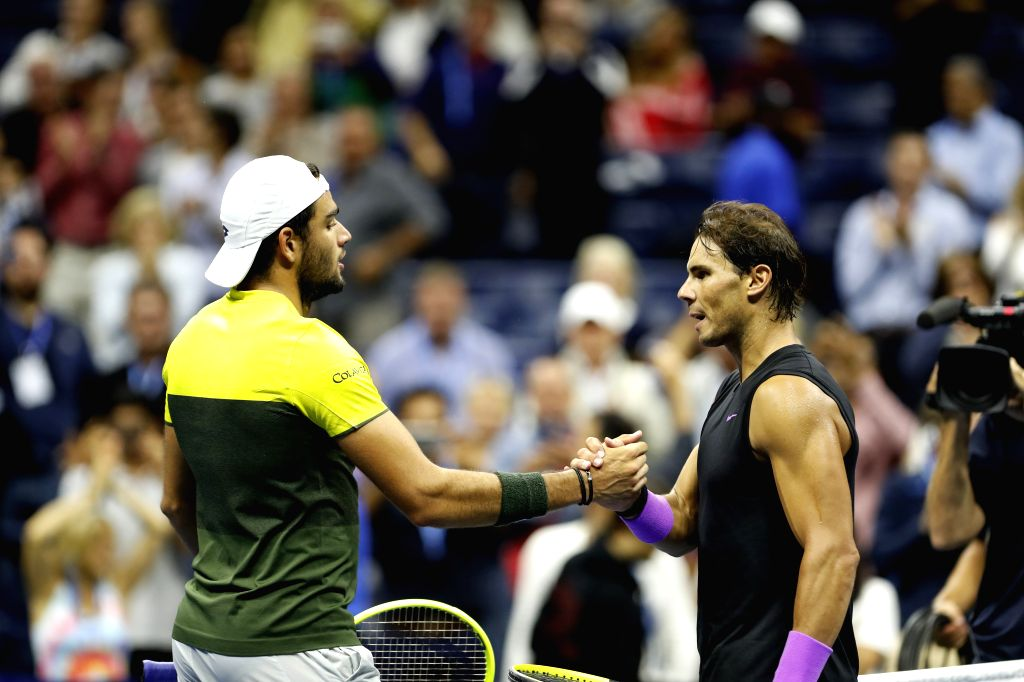 NEW YORK, Sept. 7, 2019 - Rafael Nadal (R) shakes hands with Matteo Berrettini after the men's singles semifinal between Rafael Nadal of Spain and Matteo Berrettini at the 2019 US Open in New York, ...