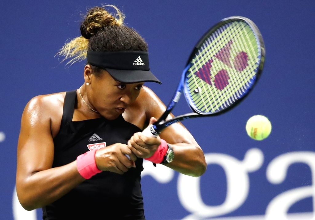 NEW YORK, Sept. 9, 2018 - Naomi Osaka of Japan hits a return during the women's singles final match against Serena Williams of the United States at the 2018 US Open tennis tournament in New York, the ...