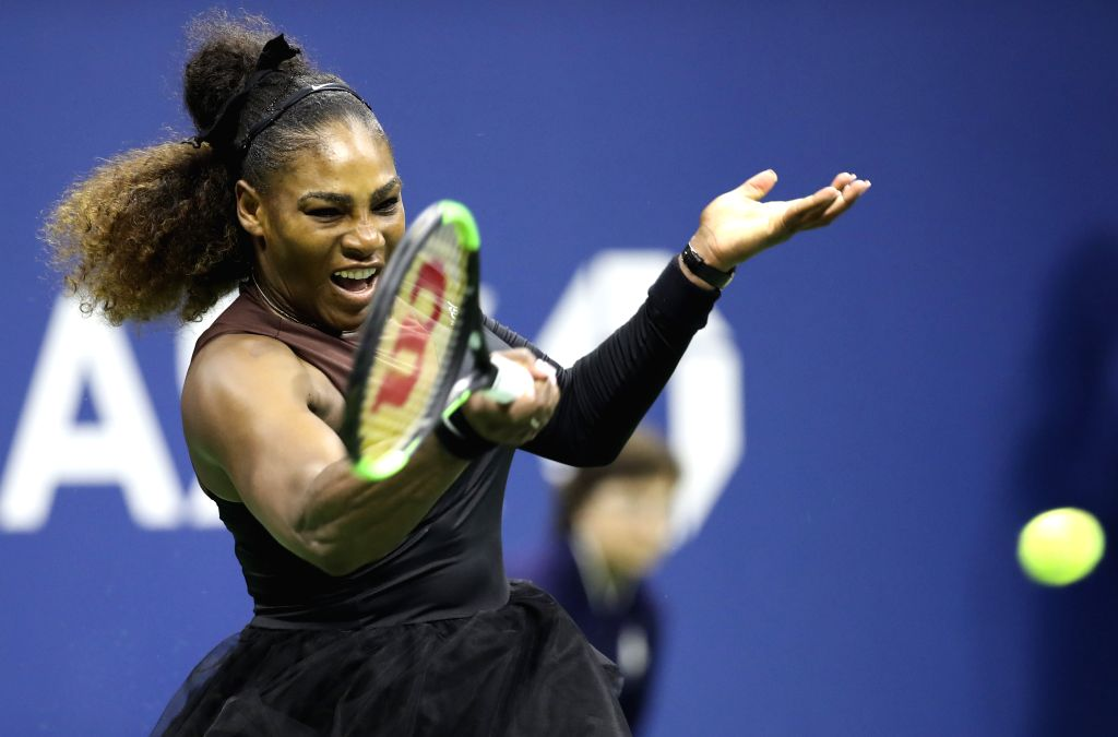 NEW YORK, Sept. 9, 2018 - Serena Williams of the United States hits a return during the women's singles final match against Naomi Osaka of Japan at the 2018 US Open tennis tournament in New York, the ...