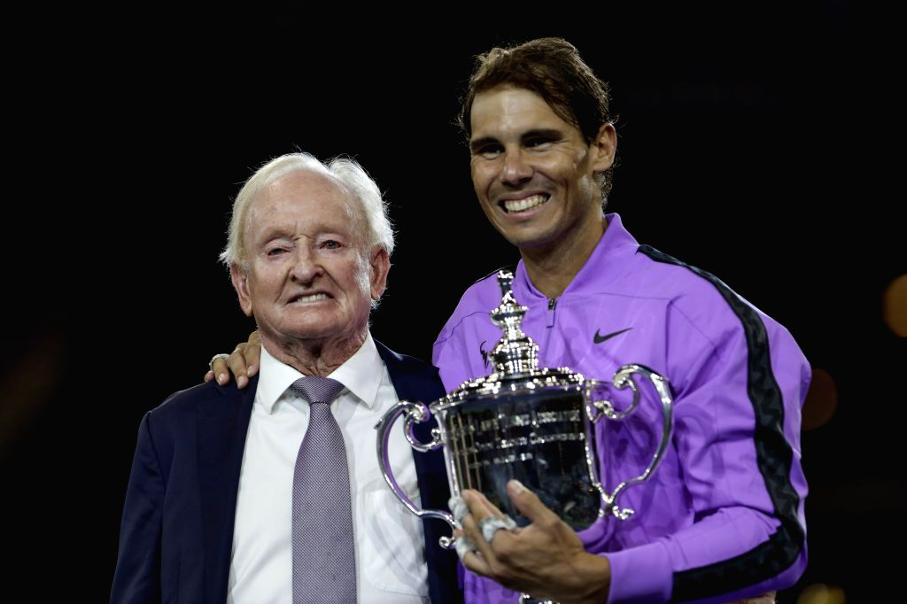 NEW YORK, Sept. 9, 2019 - Australian tennis great Rod Laver (L) poses with Rafael Nadal of Spain during the awarding ceremony after the men's singles final match between Rafael Nadal of Spain and ...