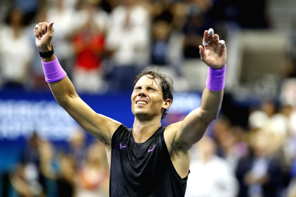 NEW YORK, Sept. 9, 2019 - Rafael Nadal of Spain celebrates after the men's singles final match between Rafael Nadal of Spain and Daniil Medvedev of Russia at the 2019 US Open in New York, the United ...