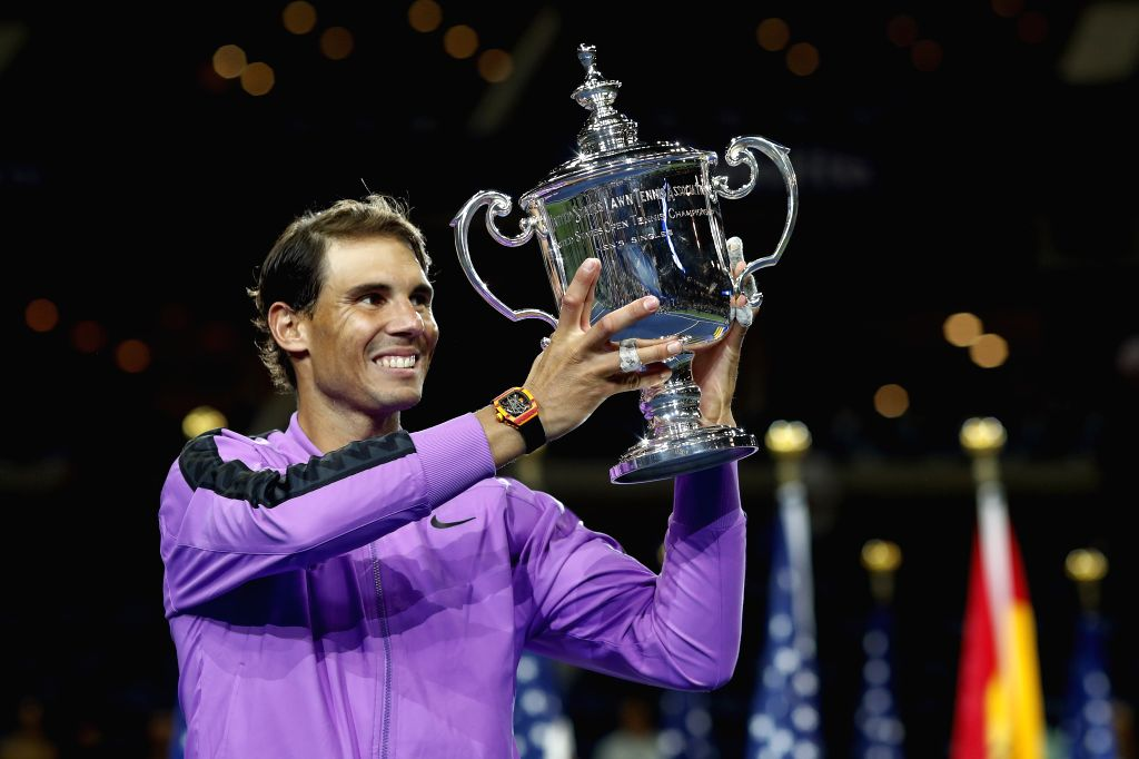 NEW YORK, Sept. 9, 2019 - Rafael Nadal of Spain holds the trophy during the awarding ceremony after the men's singles final match between Rafael Nadal of Spain and Daniil Medvedev of Russia at the ...