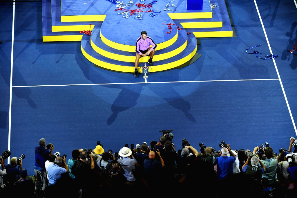 NEW YORK, Sept. 9, 2019 - Rafael Nadal of Spain poses during the awarding ceremony after the men's singles final match between Rafael Nadal of Spain and Daniil Medvedev of Russia at the 2019 US Open ...