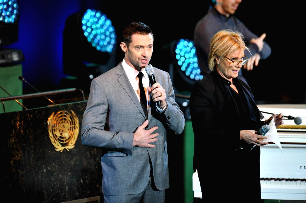 """New York (U.S.): Actor Hugh Jackman (L) speaks during an event marking the global launch of UNICEF """"Imagine Project""""  and the 25th Anniversary of the Convention on the Rights of the Child, . - Hugh Jackman"""