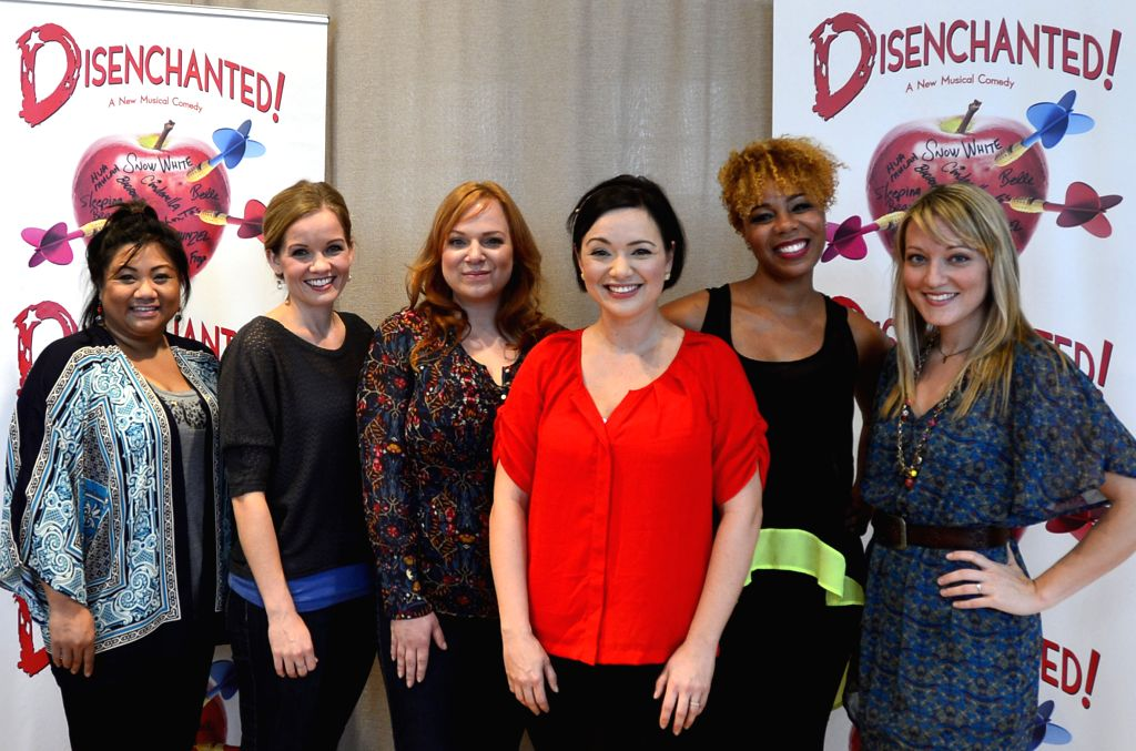 New York (U.S): Actresses pose for photos during a open rehearsal of Disenchanted in New York, the United States, Nov. 13, 2014. The new musical comedy Disenchanted written by Dennis T. Giacino, will