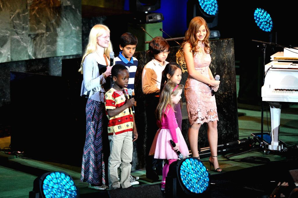 """New York (U.S.): Young participants speak during an event marking the global launch of UNICEF """"Imagine Project""""  and the 25th Anniversary of the Convention on the Rights of the Child, at ..."""