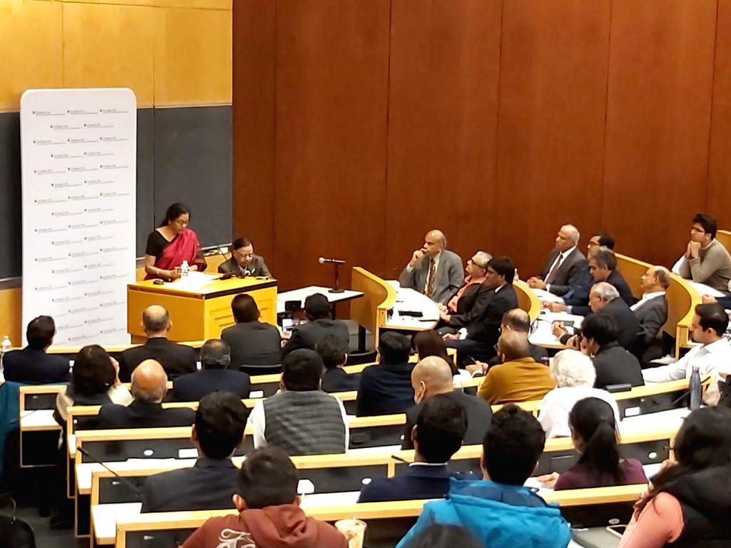 New York: Union Finance and Corporate Affairs Minister Nirmala Sitharaman addresses a gathering at the Deepak and Neera Raj Centre at Columbia University in New York, US on Oct 16, 2019. (Photo: IANS) - Nirmala Sitharaman