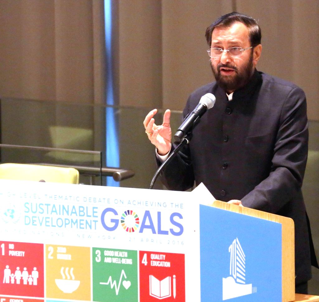 New York: Union Minister of State for Environment, Forest and Climate Change Prakash Javadekar addresses during the High-level Thematic Debate on achieving the Sustainable Development Goals, in New ...
