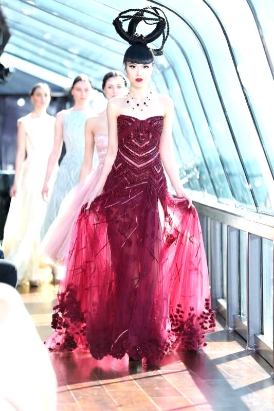 New York (US): Models walk the ramp during J Spring Fashion Show 2015 in New York, US on March 20, 2015. The fashion show was organised on Hudson river.