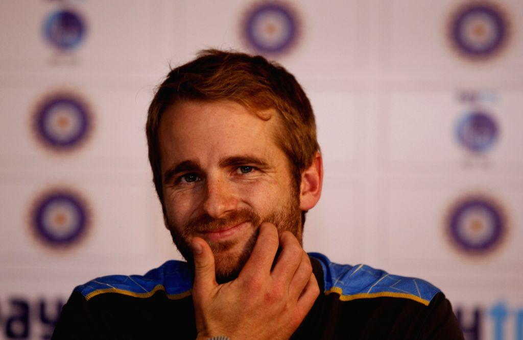 New Zealand captain Kane Williamson addresses a press conference in New Delhi on Sept 13, 2016. - Kane Williamson