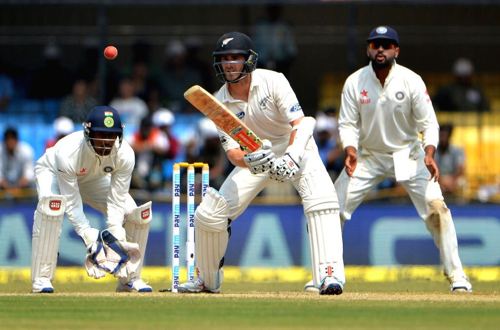 New Zealand captain Kane Williamson in action on the third day of the third test match between India and New Zealand at Holkar stadium in Indore on Oct 10, 2016. - Kane Williamson