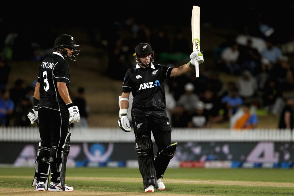 New Zealand captain Tom Latham celebrates his half century during the 1st ODI of the three-match series between India and New Zealand at the Seddon Park in Hamilton, New Zealand on Feb 5, ... - Tom Latham