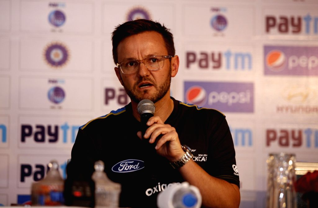 New Zealand coach Mike Hesson during a press conference in New Delhi on Sept 13, 2016.