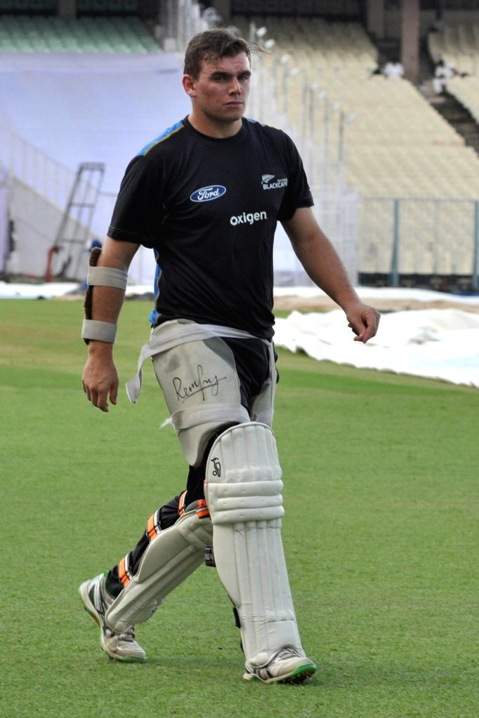 New Zealand cricketer Doug Bracewell during a practice session at Eden Gardens in Kolkata on Sept 29, 2016.