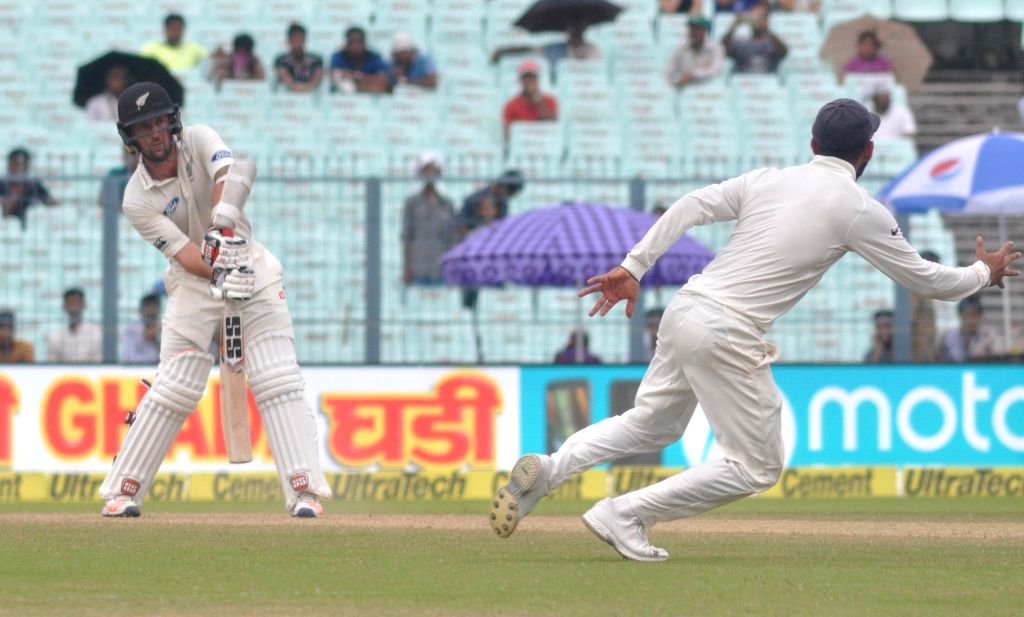 New Zealand cricketer Luke Ronchi in action on Day 2 of the Second Test Match between India and New Zealand at Eden Gardens in Kolkata on Oct 1, 2016.