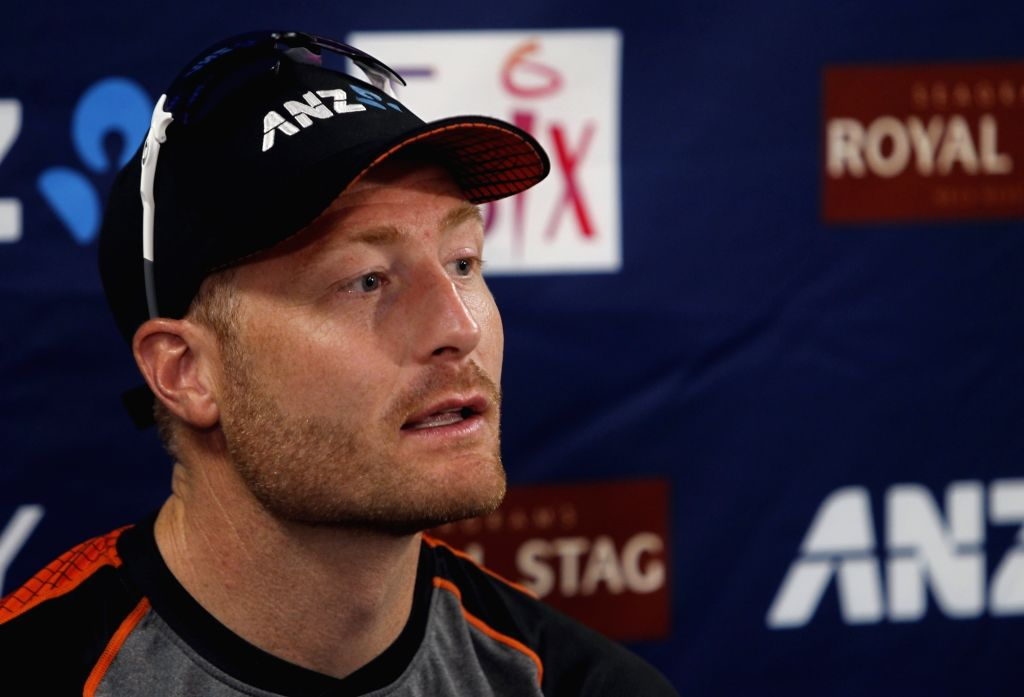 New Zealand cricketer Martin Guptill addresses a press conference in Auckland, New Zealand on Feb 7, 2020.