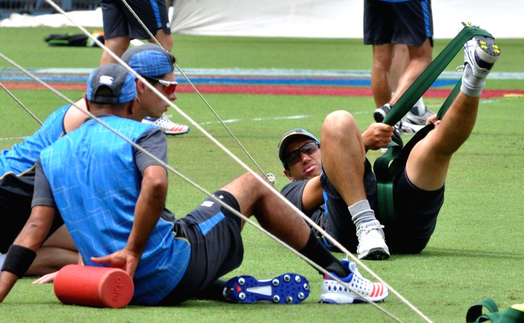 New Zealand cricketer Ross Taylor during a practice session at Eden Gardens in Kolkata on Sept 29, 2016.